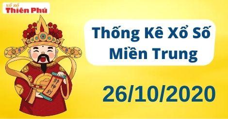 Thống kê XSMT thứ 2 ngày 26/10/2020 - Phân tích KQ miền Trung hôm nay